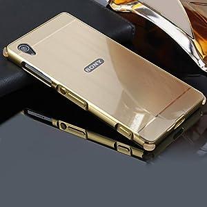 Hülle für Sony Xperia Z2,BtDuck Weich Silikon Eckenschutz Aluminum Überzug Metal Mirror Back Case Matt Schutzhülle Slim Handyhülle Mirror Spiegelnd Make Up Schutzhülle für Sony Xperia Z2 Gold