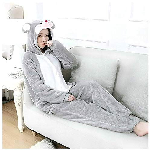 M & A Schlafanzug Lustige Erwachsene Onesie Kigurumi Maus Langarm Kapuze Flanell Warme Frauen Homewear Onesies für Erwachsene süße Tier Pyjamas One Piece-Maus_XL