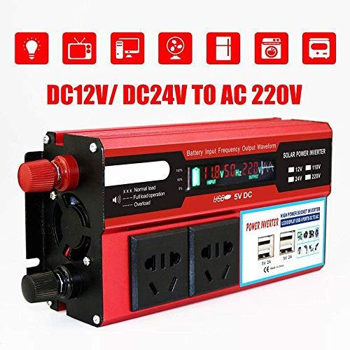 500W Power Inverter DC 12V a 220V AC Transformador de coches Converter con 4 puertos USB y 2 zócalos cargador, ventilador de refrigeración inteligentes, interruptor independiente for el Control SKYJIE