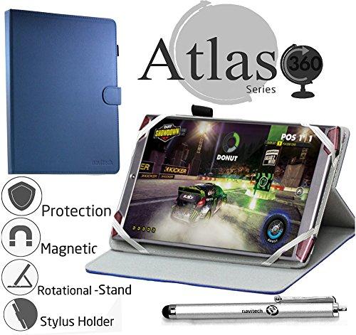 Navitech 8 Zoll rotierbares bycast Leder Case/Cover in Blau für das Acer Predator 8 Gaming Tablet