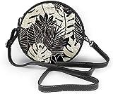 BAODANLA Bolso redondo mujer Black and White Leaves Women Soft Leather Round Shoulder Bag Zipper Circle Purses Sling Bag