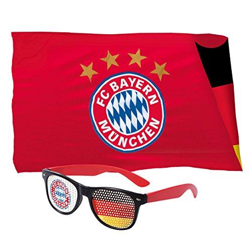 FC Bayern München WM Fan Set Fahne & Sonnenbrille in FCB und Deutschland Design Plus gratis Aufkleber Forever München