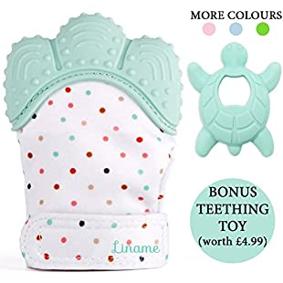 *LIMITED OFFER* - Liname Teething Mitten for Babies with BONUS Teething Toy & eBook - Safe (BPA Free), Washable & Durable Teething Mitt - Provides Soothing Relief from Sore Gums & Hands From Excess Saliva (Mint)