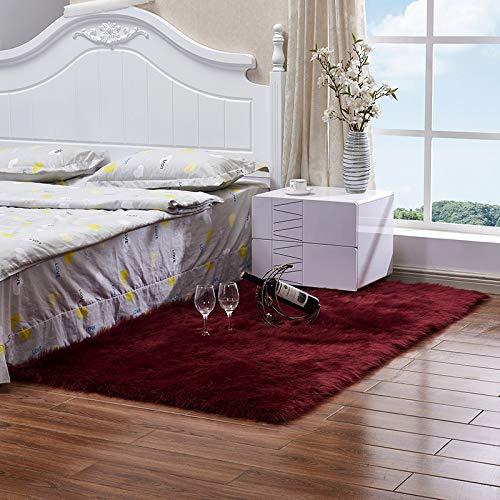 Suppyfly Faux wol bank tapijt mat hele wol kussen woonkamer slaapkamer lange pluche deken baby kinderkamer tapijt kamer tapijt Wijn Rood