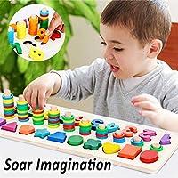 Afufu Giochi Bambini 3+ Anni, Giocattoli Educativi Montessori da Puzzle in Legno, Anelli impilabili per Imparare la Matematica Contare e Imparare i Colori, Giochi Educativo Set Regalo per 3 4 5 Anni #4