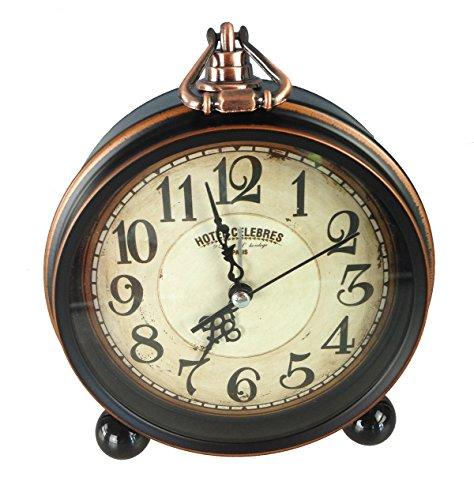 GMMH Tischuhr Nostalgie Antik Vintage Retro Metall Standuhr Wecker Uhr Design (14-3)
