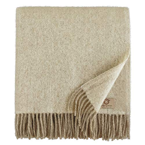 Linen & Cotton Couverture Chaude et Douce Couverture Confortable Columbus - 100% Pure Laine de Nouvelle-Zélande, Beige Naturel Blanc (140 x 200 cm) Plaid en Laine d'agneau, Couvre-Lit, Jete de Canape