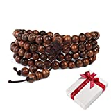 108 perline di legno perline di preghiera buddismo 6mm braccialetto per di meditazione yoga,buddista elastico marrone tibetano buddha mala catena bracciali da polso collana per regalo da uomo donna