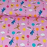 Baumwolljersey Winnie Pooh und seine Freunde rosa