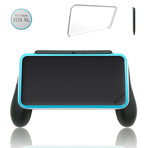 [Updated] Hand Grip for Nintendo 2DS XL with 1 Stylus and 1 Clear Case for Nintendo 2DS XL