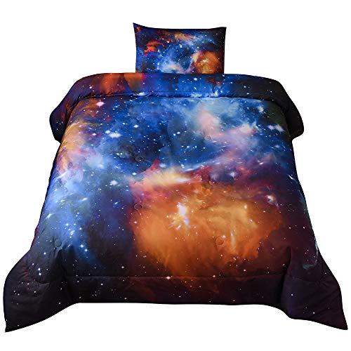 "Sincethen 3D Galaxy Comforter Set Twin Size 2Pcs (1 Comforter + 1 Pillowcase), Outer Space Starry Sky Universe Cloud Polyester Microfiber Bedding Set for Boy Girl Teen Kid (Twin 68""x88""/Galaxy 001)"