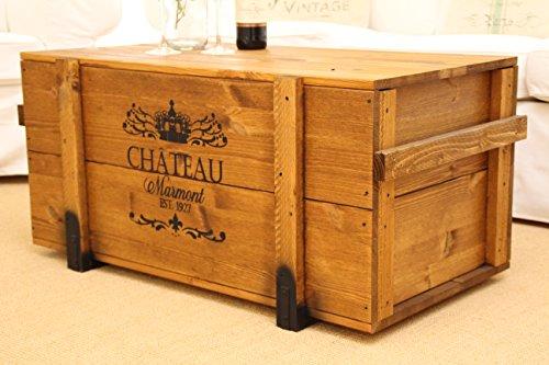 Uncle Joes Truhe Chateau Couchtisch Truhentisch im Vintage Shabby chic Style Massiv-Holz in braun mit Stauraum und Deckel Holzkiste Beistelltisch Landhaus Wohnzimmertisch - 5