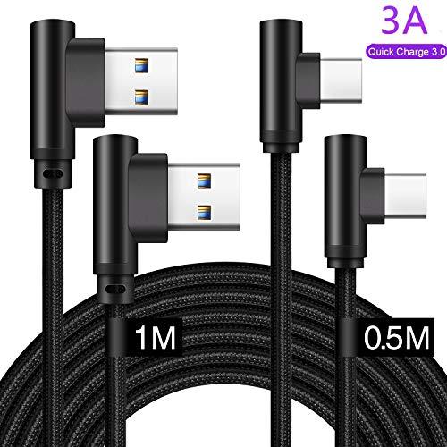 Cavo USB Type-C 90 Gradi 0.5m+1m Per Samsung S10/Plus S10E S9 S9+ S8 A70 A80 A50 A40 A90 A30 A8 A9 2018 2019,Nokia 8.1 7.1 6.2,LG G7 G8 Thinq G6,Oppo Reno z,3A Cavetto Caricabatterie Ri-carica Rapida