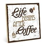 Cartel de madera Life Begins After Coffee – Shabby Chic Retro Vintage tipografía de pizarra de – Cartel de madera MDF, Madera, Madera de Diseño con texto/Cita/Aforismo como regalo decoración y para el tema de café, levantarse y encendido se (19,5 x 19,5 cm)