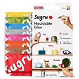 Sugru I000950 Moldable Multi-Purpose Glue for Creative Fixing and Making, Red, Blue, Yellow, Gray, Green, Brown, Orange & Pink, 8 Piece