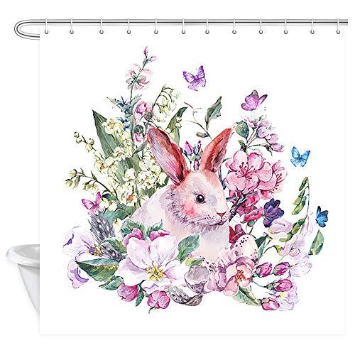 DYNH Duschvorhang, Osterhase & Blütenzweige mit Pfirsichblüten, Apfelblumen, Eier, Federn & Schmetterlinge, Aquarell-Vorhang, Vintage-Blumen-Duschvorhang, 177,8 x 177,8 cm