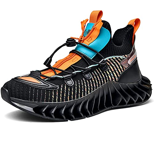 Besroad Mens Slip on Sports Tennis Running Shoes Casual Wide Walking Fashion Sneakers Black 13