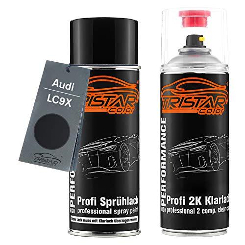 TRISTARcolor Autolack 2K Spraydosen Set für Audi LC9X Deep Black Perl/Black Perl Basislack 2 Komponenten Klarlack Sprühdose