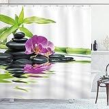 ABAKUHAUS Spa Duschvorhang, Zen-purpurrote Orchideen-Bambusse, Leicht zu pflegener Stoff mit 12 Haken Wasserdicht Farbfest Bakterie Resistent, 175 x 180 cm, Lila schwarz & grün