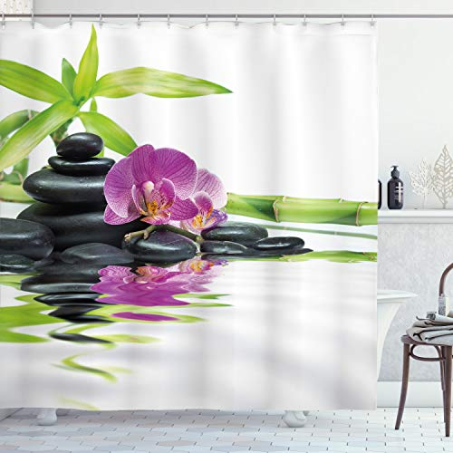 ABAKUHAUS Spa Duschvorhang, Zen-purpurrote Orchideen-Bambusse, Leicht zu pflegener Stoff mit 12 Haken Wasserdicht Farbfest Bakterie Resistent, 175 x 200 cm, Lila schwarz & grün