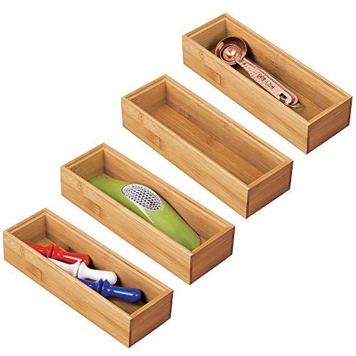 mDesign Juego de 4 separadores de cajones para la cocina – Organizadores para cajones modulares para cubertería y más – Cubertero de bambú para cajones de cocina – marrón claro
