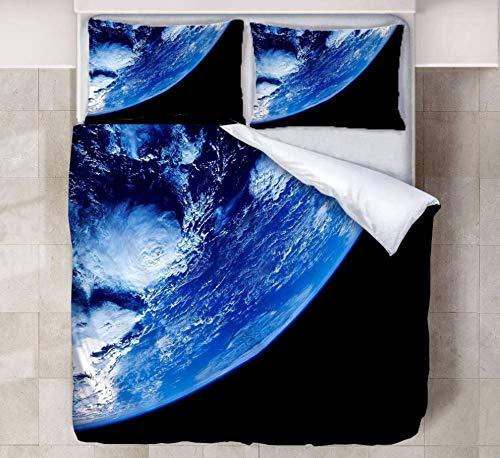 JZZCIDGa Blue Earth DuvetCover 3-PieceBedSetBeddingSetPillowcasesDoubleHiddenZipperMicrofiberQuiltCover