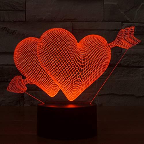 Qiuge Las luces decorativas, lámpara del dormitorio sala de flecha a través del interruptor del corazón del estilo 3D táctil de control de luz LED, 7 color decoloración creativo visual estéreo lámpara