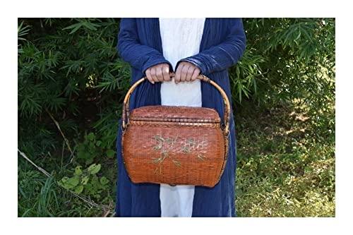 GOUDAN Bolso de Almacenamiento de té de Viaje de Tejido Fino Hecho a Mano,Bolso de bambú Tejido,artesanías de envasado de bambú,for Fiesta,Compras,Camping,Citas o Justo como una Bolsa de día.