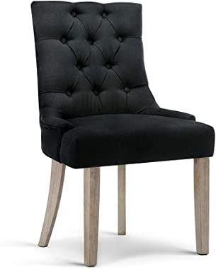 Artiss Wooden Fabric Upholstered Dining Chair, Black