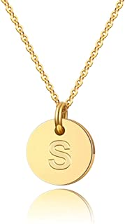 Turandoss Letter Initial Necklace for Women - 14K Gold Filled Disc Letter Pendant Initial Necklace, Delicate Tiny Initial Necklace for Girls Teens Baby, Best Initial Necklace Gifts for Women