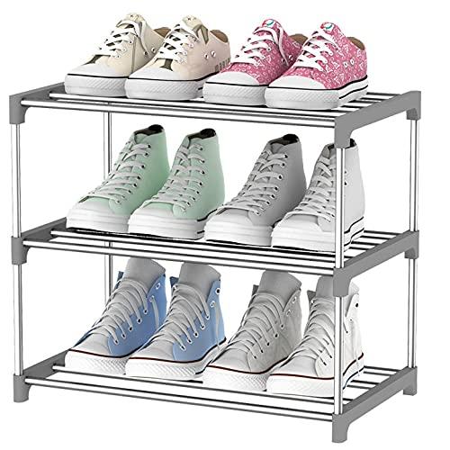 Rack de zapatos trabajo de metal de trabajo pesado Trainer para guardarropa ordenada pasillo dormitorio conjunto rápido No se requieren herramientas-Gris tres capas Longitud 46cm