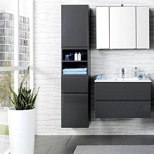 Badezimmer Set COMO-03, 3-teilig Hochglanz grau, 80cm Waschtisch Badmöbel, Waschtisch, Badezimmermöbel, LED Spiegelschrank, Waschplatz, Badezimmerschränke
