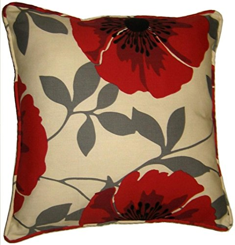 Hendem Poppy Flower Isla Cushion Cover Home Office Printed Decorative Polycotton Floral Covers 18' x 18' (Red)