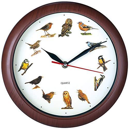 Deuba Wanduhr Kinder Uhr mit Vogelstimmen 12 Vögel als Ziffern Jede volle Stunde Vogelgesang Lerneffekt Holz Look