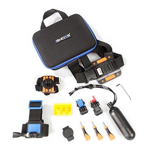 iSHOXS Body Action Set - bestehend aus: ProChest Brustgurt, HandStrap Set, Head Strap, Aqua Handle Black, Fast Lock Slider und ProCase Soft Mesh Box