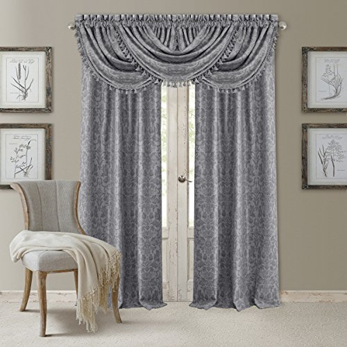 "Elrene Home Fashions 20860ELR Antonia Blackout Rod Pocket/Back Tab Window Curtain Panel,Silver,52"" X 84"