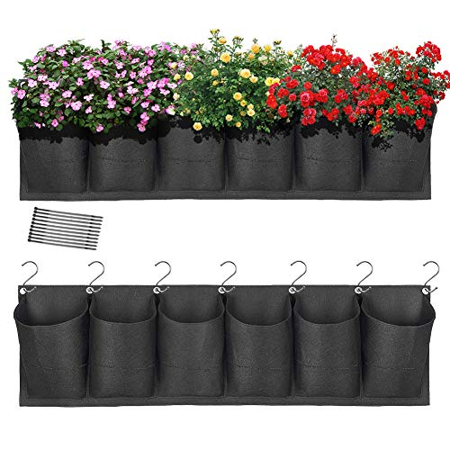 HugeHard Hanging Garden Planter with 6 Pockets, Waterproof Wall Planter Pouch Basket Bag with 7 Hooks, Balcony Planters with 10...