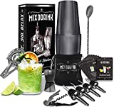 Mixodrink 28oz Cocktail Shaker Set - 12 Piece Black Stainless Steel w/Drink Mixer Book | Boston Shaker Bar Kit | Mixology Bartender Kit | For Martini, Margarita Mixes, Professional Bar Accessories