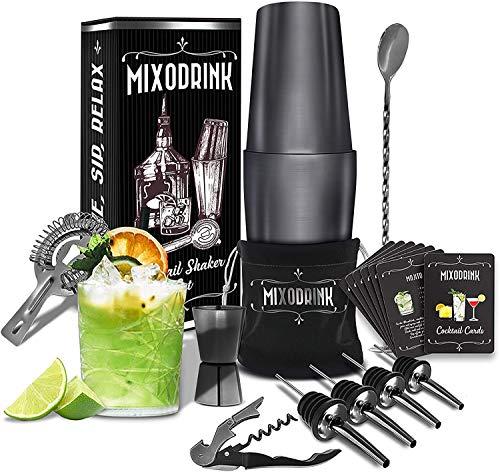 Mixodrink 28oz Cocktail Shaker Set  12 Piece Black Stainless Steel w/Drink Mixer Book | Boston Shaker Bar Kit | Mixology Bartender Kit | For Martini Margarita Mixes Professional Bar Accessories