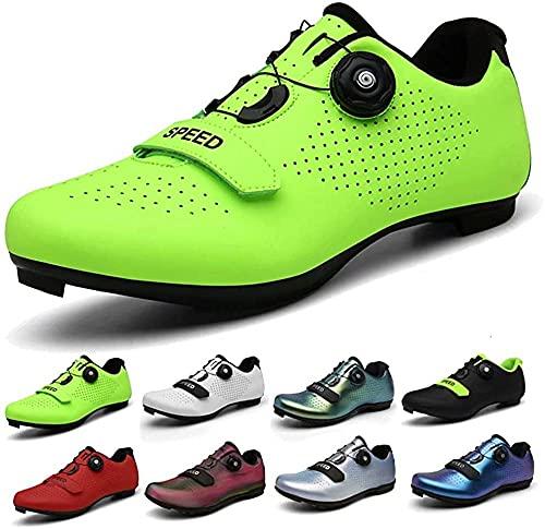 KUXUAN Zapatos de ciclismo Spin Shoestring con zapatilla Peloton compatible con SPD y Delta Lock Pedal Bike Shoestring, verde-B-7UK = (255 mm) = 41EU