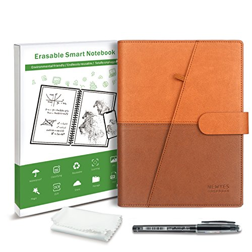 """Smart Notebook Reusable with pen - Dot-Grid and Lined Eco-Friendly Notebook with 1 Frixion Pen and Microfiber Cloth Included - PU Leather Hard Cover, A5 Paper Size (5.8"""" x 8.3""""), 50 Sheets"""