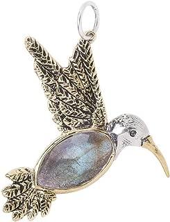 Fly Lightly Sterling Silver, Brass, and Labradorite Hummingbird Pendant