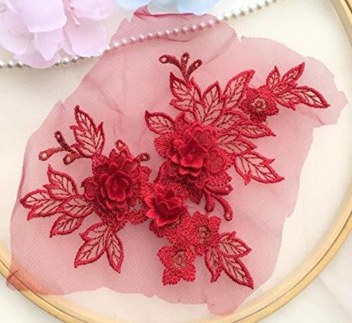 TTYAC 1 Stück 15 * 19 cm 3D-Spitzenapplikation Gold Blau Rosa Burgund Handgemachte DIY Patch Spitze Blume DIY Kleidungszubehör, rot
