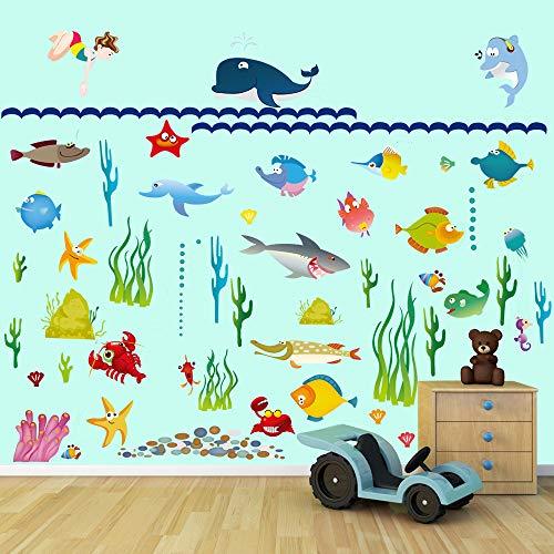 decalmile Pegatinas de Pared Bajo el Mar Vinilos Decorativos Infantiles Pescado Mundo Oceánico Submarino Adhesivos Pared Habitación Bebés Niños Baños Dormitorio Salón