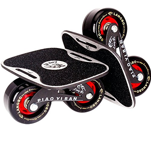 Portable Roller Road Drift Skates Plate Anti-Slip Board Split Skateboard Aluminum Alloy with PU Wheels(Black)