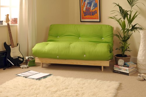 Comfy Living 4ft Small Double 120cm Wooden Futon Set with LIME GREEN Mattress