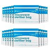 Sacchetti di sterilizzazione a microonde da 10 pacchetti per bagagli a vapore massimi e durevoli per bottiglie per bambini, cotoni, tazze e tazze di formazione, 20 usi per borsa, sistema di marcatura