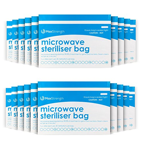 Cheap Premium Microwave Sterilizer Bags (10pcs) by Max Strength, Large & Durable Steam Bags for Baby...