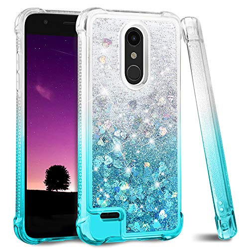 Ruky LG K30 Case, LG Phoenix Plus LG Premier Pro LTE LG Harmony 2 Case, Gradient Quicksand Series Glitter Flowing Liquid TPU Bumper Cushion Soft TPU Girls Women Case for LG K10 2018 (Gradient Teal)