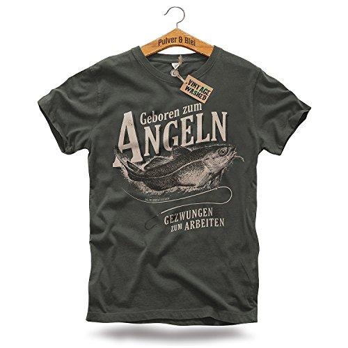 PULVER & BLEI Geboren zum Angeln T-Shirt Herren Oliv Kurzarm Model (XL)